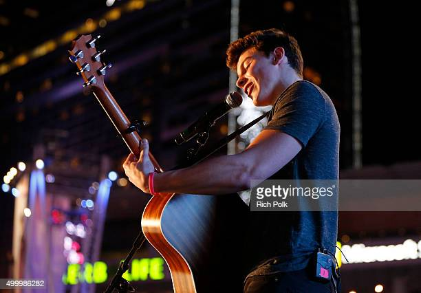 Recording artist Shawn Mendes performs onstage during the 1027 KIIS FM's Jingle Ball Village at KIIS FM's Jingle Ball 2015 Presented by Capital One...