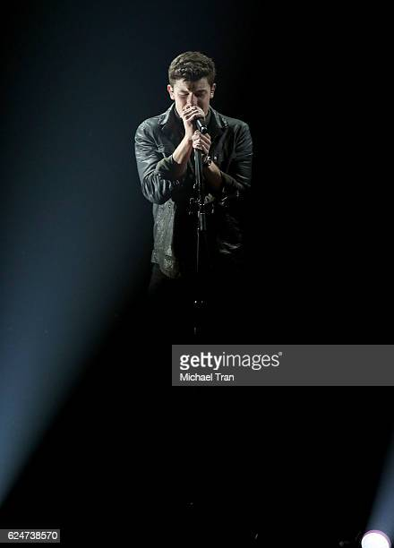 Recording artist Shawn Mendes performs onstage during the 2016 American Music Awards held at Microsoft Theater on November 20 2016 in Los Angeles...