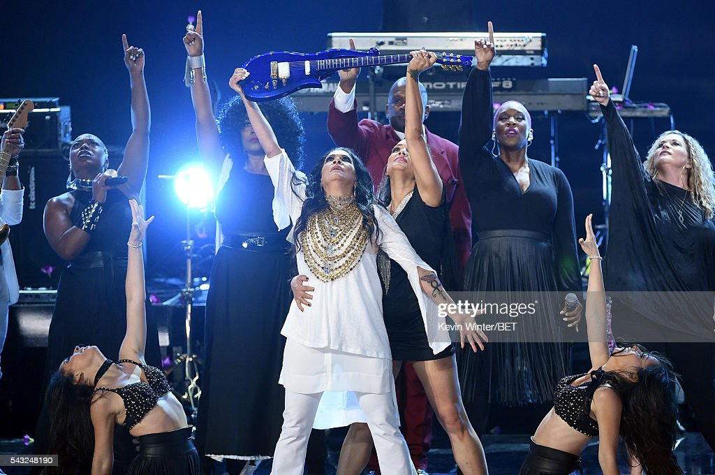 Recording artist Sheila E. (C) performs onstage during the 2016 BET Awards at the Microsoft Theater on June 26, 2016 in Los Angeles, California.