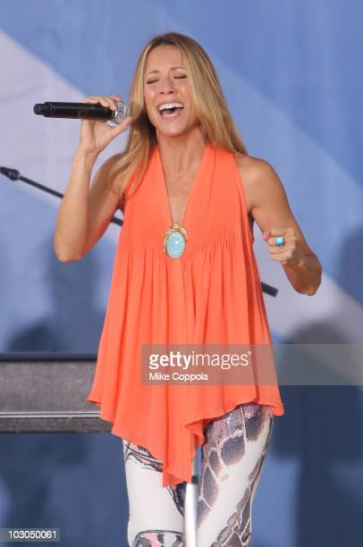 Recording artist Sheryl Crow performs on ABC's 'Good Morning America' at Rumsey Playfield on July 23 2010 in New York City