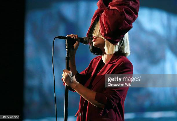 Recording artist Sia performs onstage at AE Networks Shining A Light concert at The Shrine Auditorium on November 18 2015 in Los Angeles California