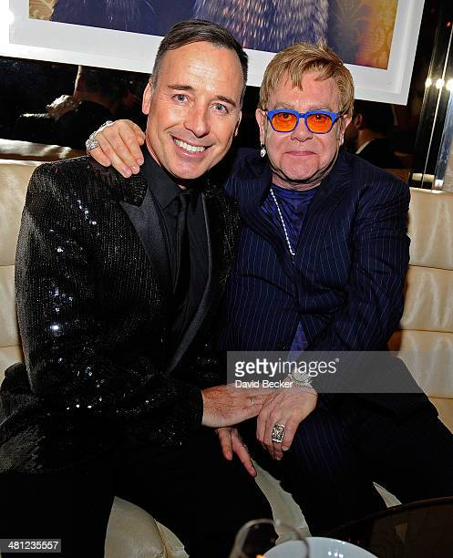 Recording artist Sir Elton John and his partner FIZZ Las Vegas creative director David Furnish attend the grand opening of FIZZ Las Vegas inside...