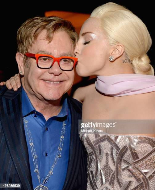 Recording artist Sir Elton John and singer Lady Gaga attend the 22nd Annual Elton John AIDS Foundation Academy Awards Viewing Party at The City of...