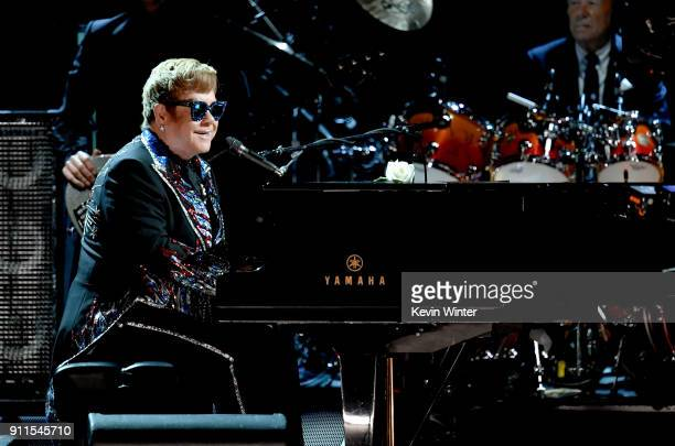 Recording artist Sir Elton John performs onstage during the 60th Annual GRAMMY Awards at Madison Square Garden on January 28 2018 in New York City