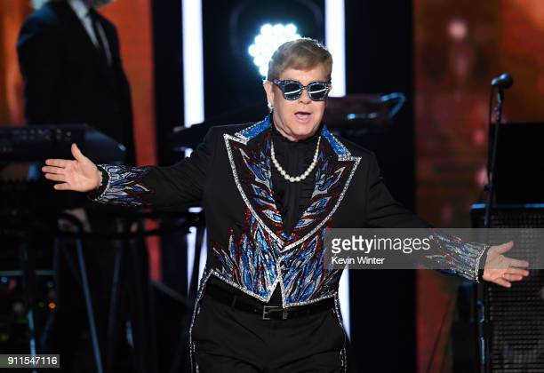 Recording artist Sir Elton John performs onstage during the 60th Annual GRAMMY Awards at Madison Square Garden on January 28, 2018 in New York City.