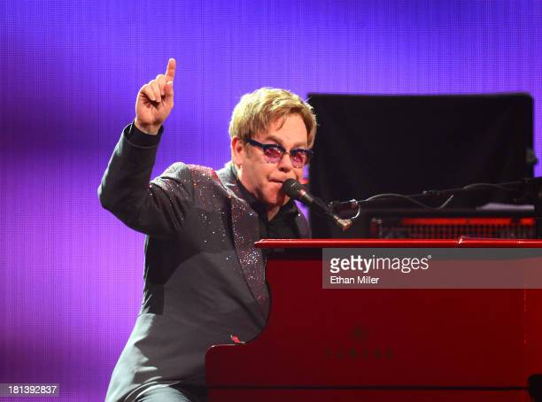 Recording artist Sir Elton John performs onstage during the iHeartRadio Music Festival at the MGM Grand Garden Arena on September 20 2013 in Las...