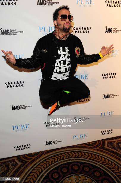 Recording artist SkyBlu of LMFAO arrives for the debut of Who Came to Party at Pure Nightclub on May 27 2012 in Las Vegas Nevada