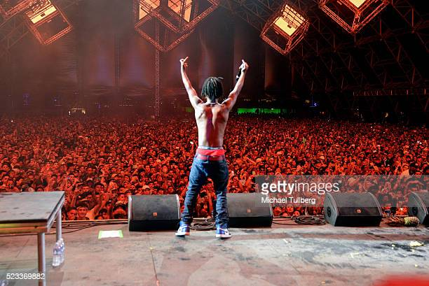 Recording artist Slim Jimmy of Rae Sremmurd performs onstage during day 1 of the 2016 Coachella Valley Music Arts Festival Weekend 2 at the Empire...