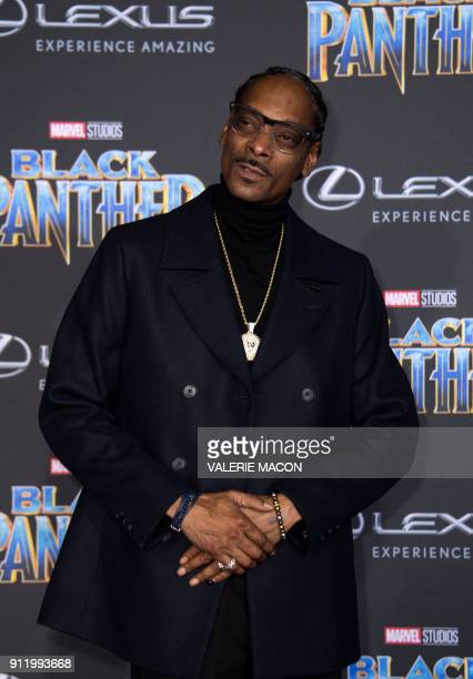 Recording artist Snoop Dog attends the world premiere of Marvel Studios Black Panther, on January 29 in Hollywood, California. / AFP PHOTO / VALERIE...