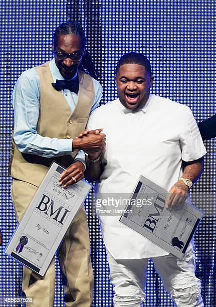 Recording artist Snoop Dogg and producer DJ Mustard accept awards onstage at the 2015 BMI RB/HipHop Awards at Saban Theatre on August 28 2015 in...