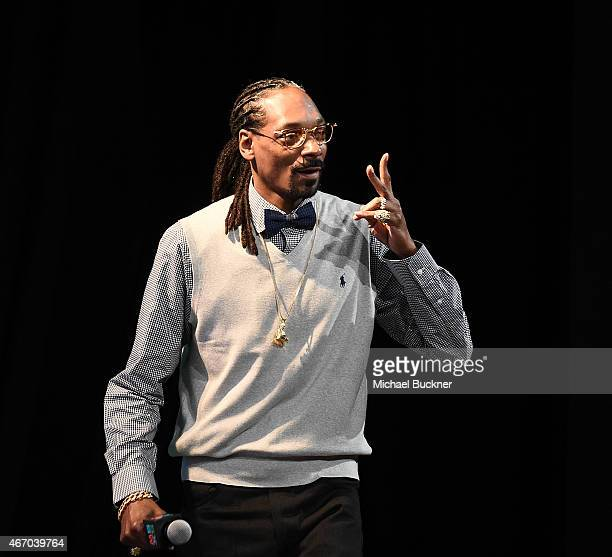 Recording artist Snoop Dogg speaks on stage at the Snoop Dogg Keynote during the 2015 SXSW Music Film Interactive Festival at Austin Convention...