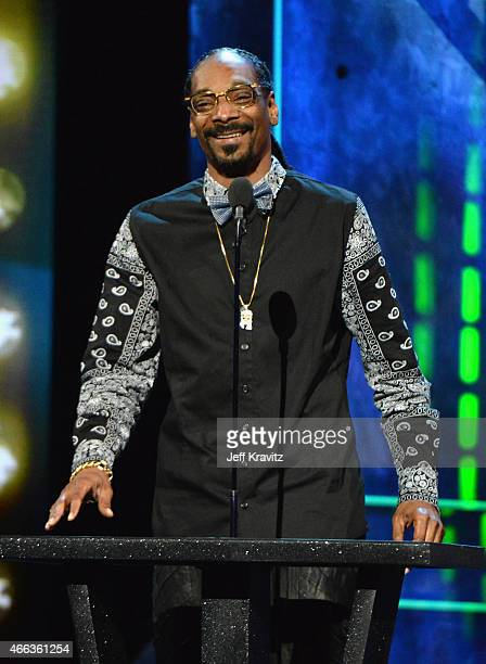 Recording artist Snoop Dogg speaks onstage at The Comedy Central Roast of Justin Bieber at Sony Pictures Studios on March 14, 2015 in Los Angeles,...