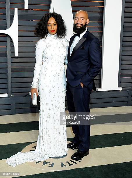 Recording artist Solange Knowles and director Alan Ferguson attend the 2015 Vanity Fair Oscar Party hosted by Graydon Carter at Wallis Annenberg...