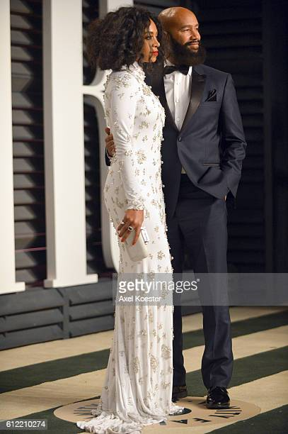Recording artist Solange Knowles and director Alan Ferguson attend the 2015 Vanity Fair Oscar Party hosted by Graydon Carter at the Wallis Annenberg...