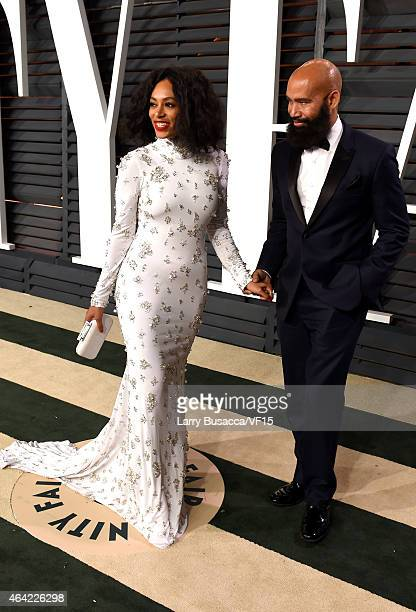 Recording artist Solange Knowles anda director Alan Ferguson attends the 2015 Vanity Fair Oscar Party hosted by Graydon Carter at the Wallis...