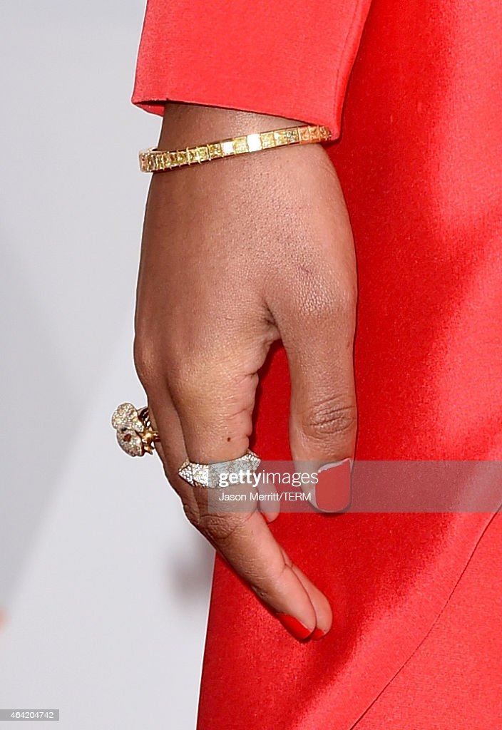 Recording artist Solange Knowles, jewelry detail, attends the 87th Annual Academy Awards at Hollywood & Highland Center on February 22, 2015 in Hollywood, California.