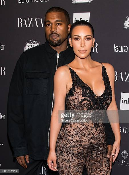 Recording artist songwriter record producer fashion designer Kanye West and Kim Kardashian West attend Harper's BAZAAR Celebrates 'ICONS By Carine...