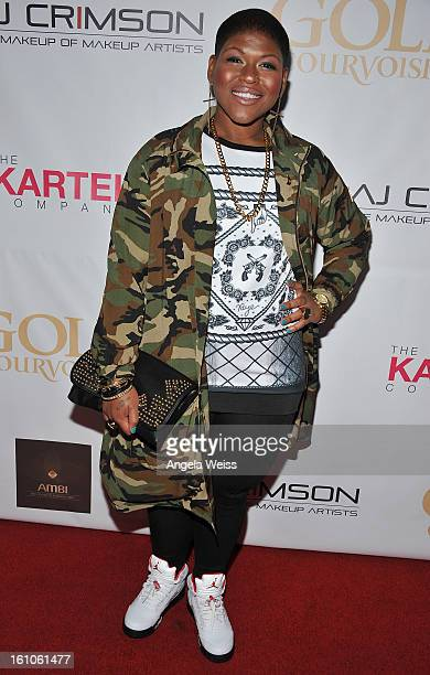 """Recording artist Stacy Barthe arrives at BET Network's Music Matters Showcase """"Lipstick On The Mic"""" at Belasco Theatre on February 8, 2013 in Los..."""