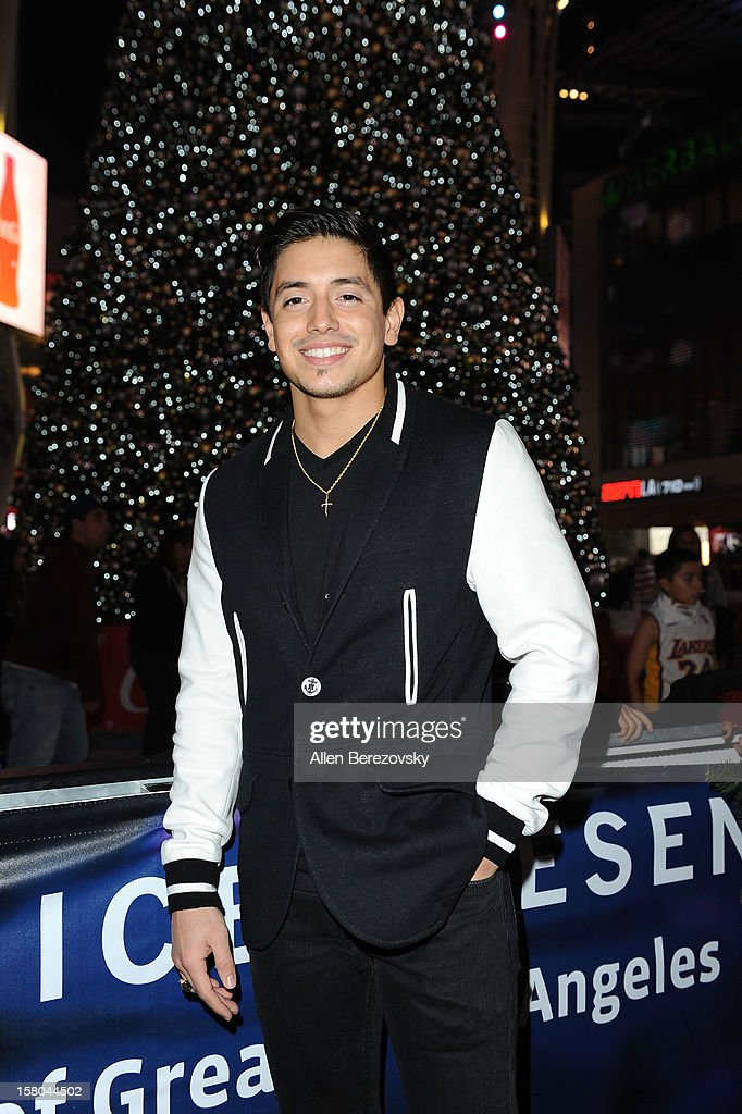 Recording artist Stefano Longone attends a special on-ice presentation to PADRES Contra El Cancer by AEG during AEG's Season of Giving celebration at the LA Kings holiday ice at Nokia Plaza L.A. LIVE on December 9, 2012 in Los Angeles, California.
