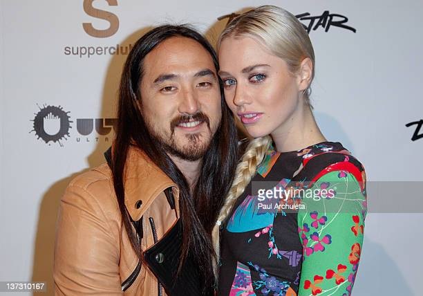 Recording Artist Steve Aoki and girlfriend model Tiernan Cowling attend Steve Aoki's 'Wonderland' record release party and red carpet event at...