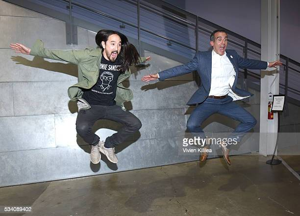 Recording artist Steve Aoki and Mayor of Los Angeles Eric Garcetti attend the Fast Company Creativity CounterConference 2016 on May 24 2016 in Los...