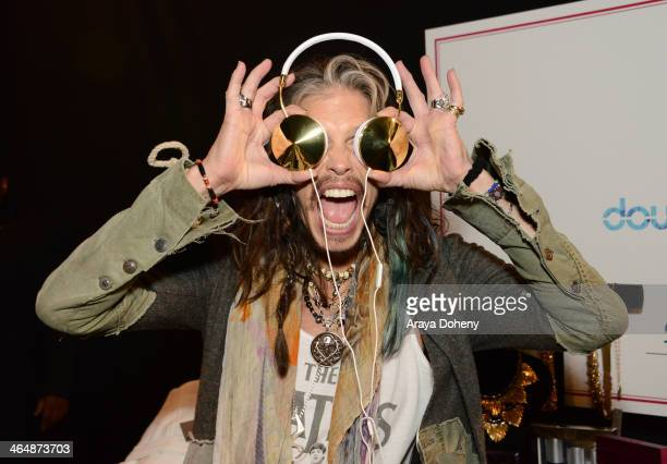Recording artist Steven Tyler attends the 2014 MusiCares Person of the Year rehearsals VIP gifting and auction signings at the Los Angeles Convention...