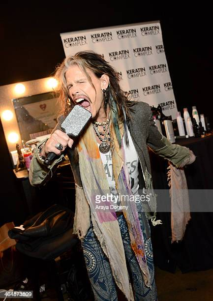 Recording artist Steven Tyler attends the 2014 MusiCares Person of the Year rehearsals Double Platinum Gift Lounge and auction signings at the Los...