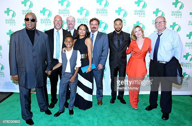 Recording Artist Stevie Wonder and family President and CEO Global Green USA Dr Les McCabe actors Matt Walsh Jussie Smollett Sharon Lawrence and Ed...