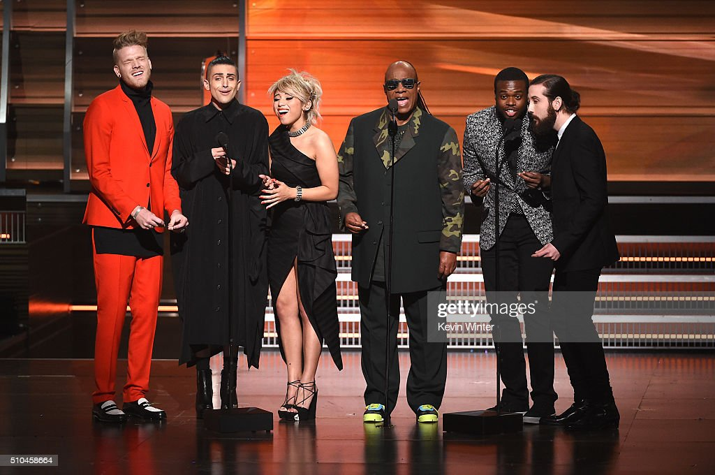 Recording artist Stevie Wonder and members of music group Pentatonix