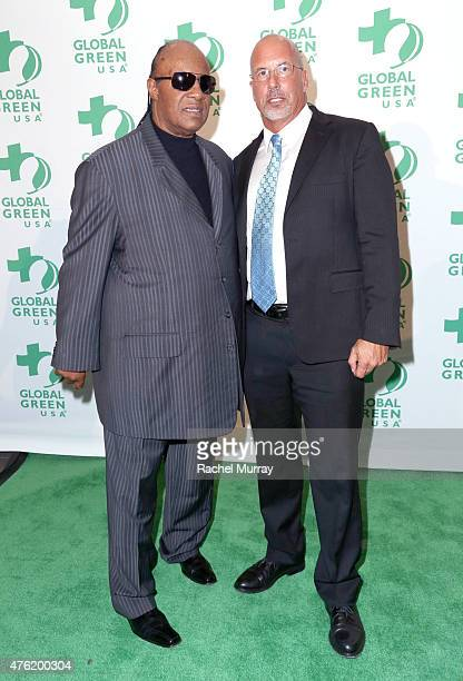 Recording Artist Stevie Wonder and President and CEO Global Green USA Dr Les McCabe attend the Global Green USA 19th Annual Millennium Awards on June...