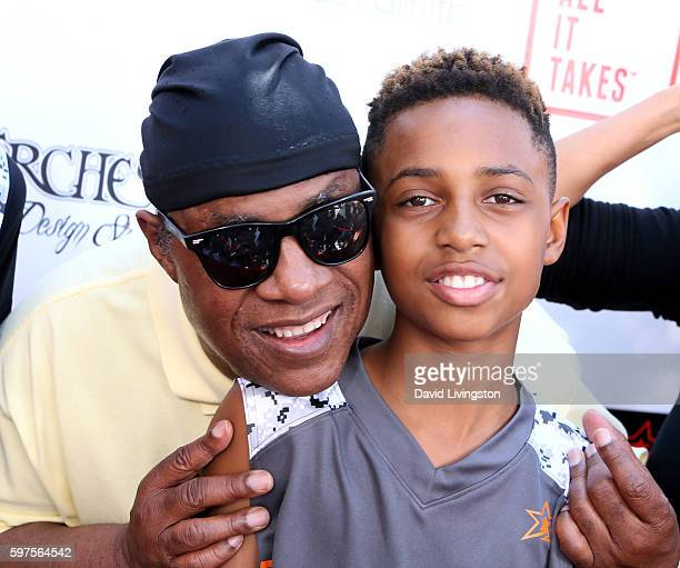 Recording artist Stevie Wonder and son Mandla Morris attend the 4th Annual Kailand Obasi HoopLife Fundraiser at USC Galen Center on August 28 2016 in...
