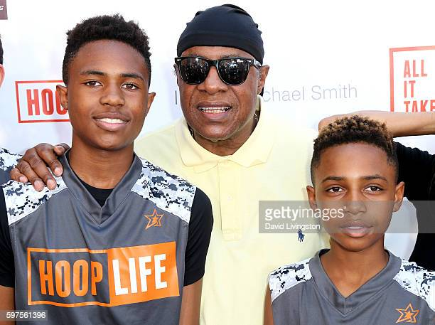 Recording artist Stevie Wonder and sons Kailand Morris and Mandla Morris attend the 4th Annual Kailand Obasi HoopLife Fundraiser at USC Galen Center...