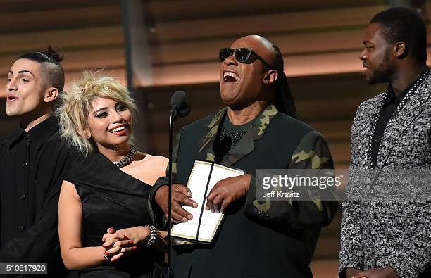 Recording artist Stevie Wonder and the Pentatonix present award for Song of the Year onstage onstage during The 58th GRAMMY Awards at Staples Center...