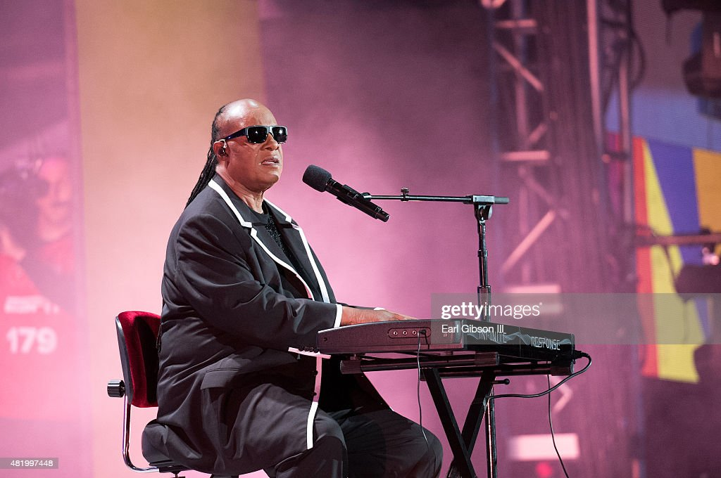 Recording Artist Stevie Wonder performs at the opening ceremony of the Special Olympics World Games Los Angeles 2015 at Los Angeles Memorial Coliseum on July 25, 2015 in Los Angeles, California.