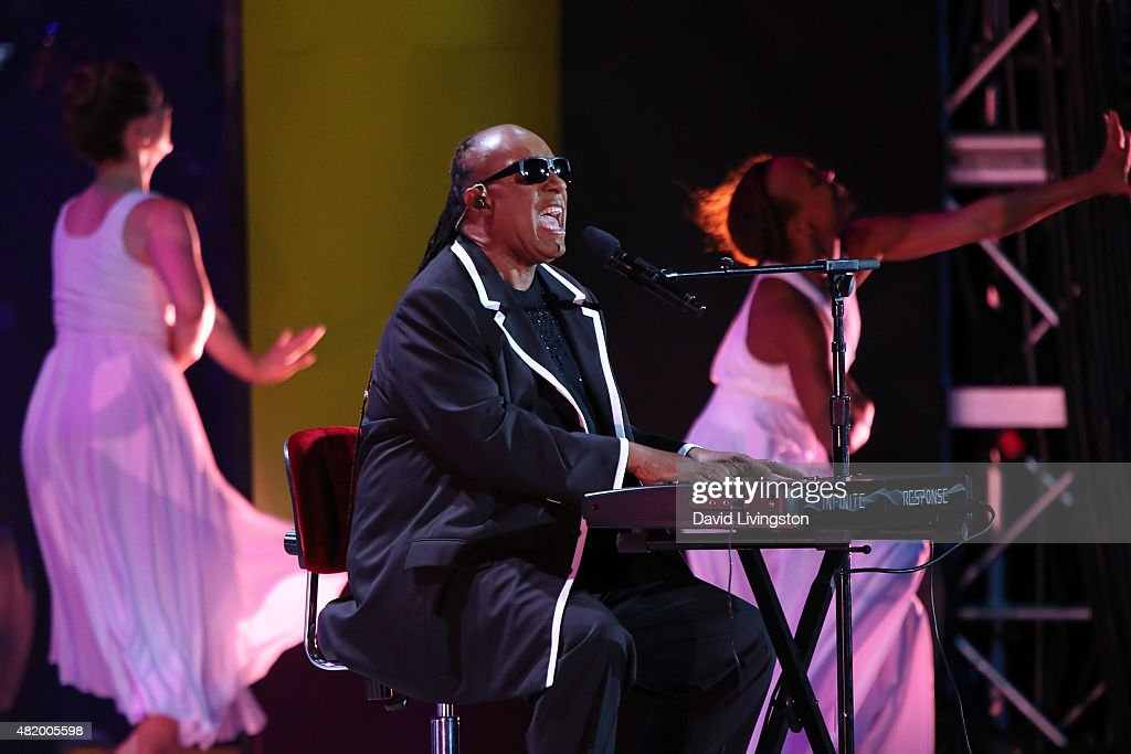 Recording artist Stevie Wonder performs on stage at the opening ceremony of the Special Olympics World Games Los Angeles 2015 at the Los Angeles Memorial Coliseum on July 25, 2015 in Los Angeles, California.