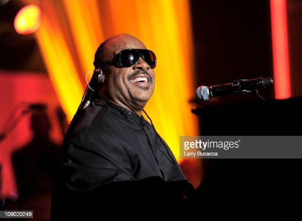 Recording Artist Stevie Wonder performs onstage at 2011 MusiCares Person of the Year Tribute to Barbra Streisand at Los Angeles Convention Center on...