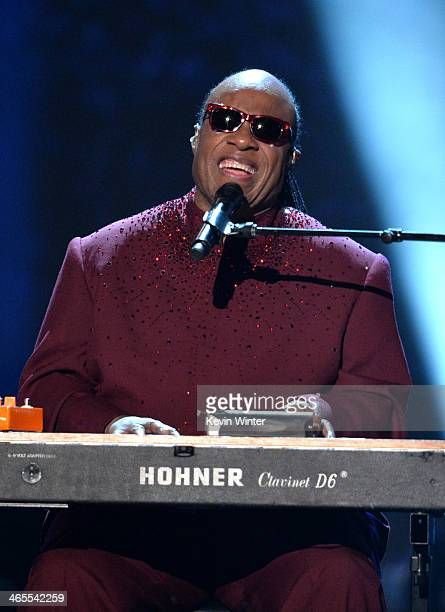 Recording artist Stevie Wonder performs onstage during 'The Night That Changed America A GRAMMY Salute To The Beatles' at the Los Angeles Convention...