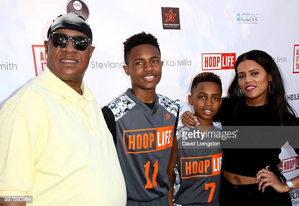 Recording artist Stevie Wonder sons Kailand Morris and Mandla Morris and designer Kai Milla attend the 4th Annual Kailand Obasi HoopLife Fundraiser...