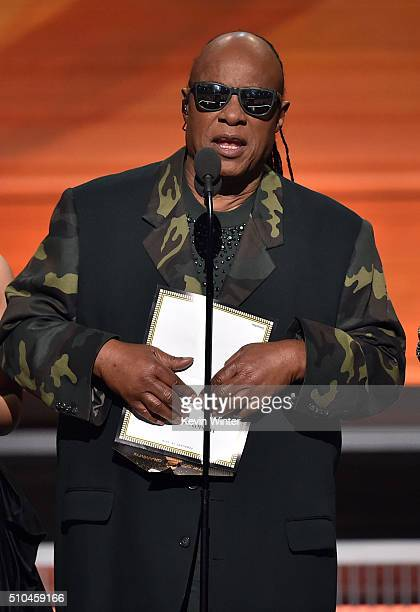 Recording artist Stevie Wonder speaks onstage during The 58th GRAMMY Awards at Staples Center on February 15 2016 in Los Angeles California