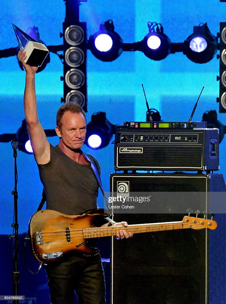 Recording artist Sting, accepts the Merit Award onstage at the 2016 American Music Awards at Microsoft Theater on November 20, 2016 in Los Angeles, California.