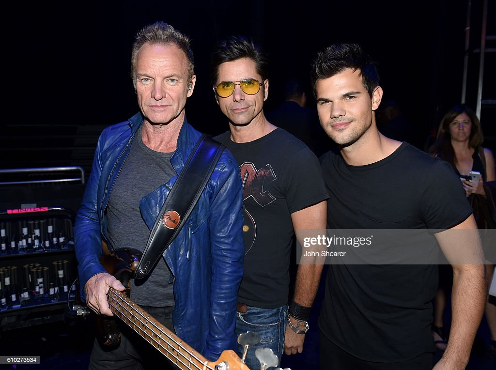Recording artist Sting, actor John Stamos, and actor Taylor Lautner pose backstage at the 2016 iHeartRadio Music Festival at T-Mobile Arena on September 24, 2016 in Las Vegas, Nevada.