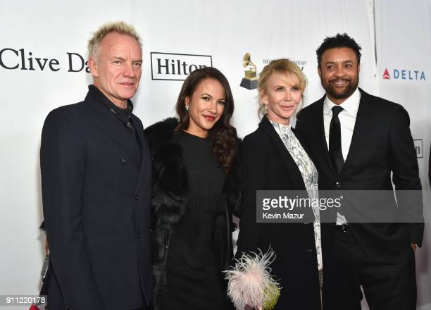 Recording artist Sting actorproducer Trudie Styler Rebecca Packer and recording artist Shaggy attend the Clive Davis and Recording Academy PreGRAMMY...