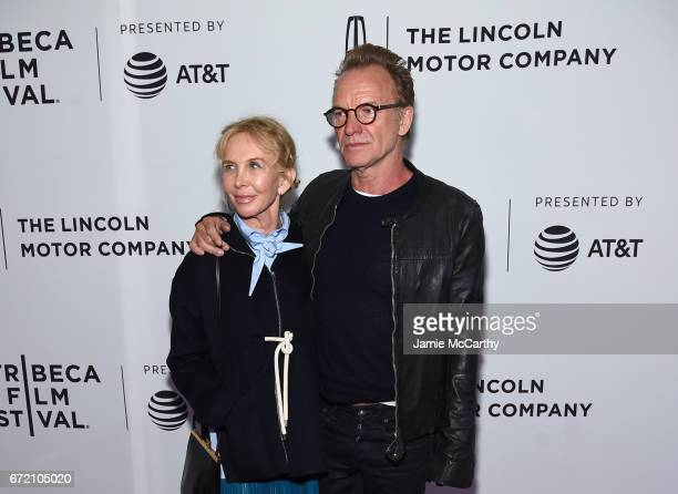 Recording artist Sting and actress Trudie Styler attend 'The Clapper' Premiere during the 2017 Tribeca Film Festival at SVA Theatre on April 23 2017...