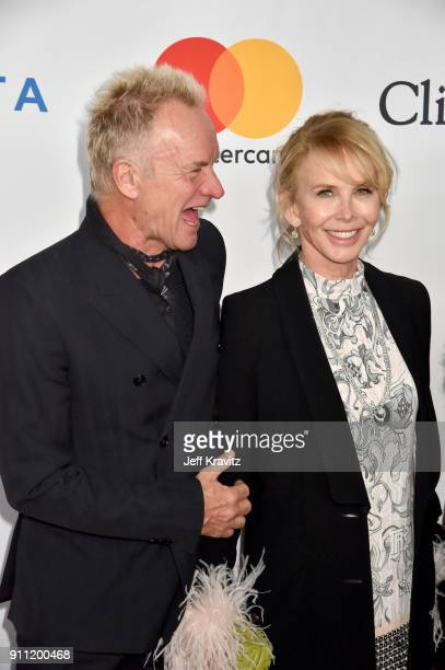 Recording artist Sting and actress Trudie Styler attend the Clive Davis and Recording Academy PreGRAMMY Gala and GRAMMY Salute to Industry Icons...