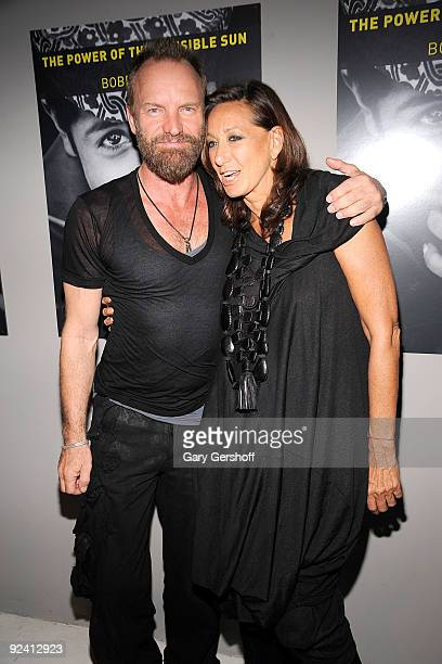 Recording artist Sting and designer Donna Karan attend 'The Power Of The Invisible Sun' book launch party at Donna Karan's Urban Zen Center at the...