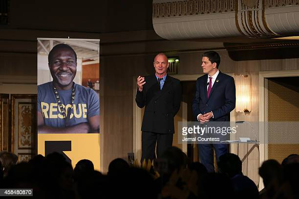 Recording artist Sting and IRC President and CEO David Miliband honor the humanitarian aid workers around the world at the Annual Freedom Award...