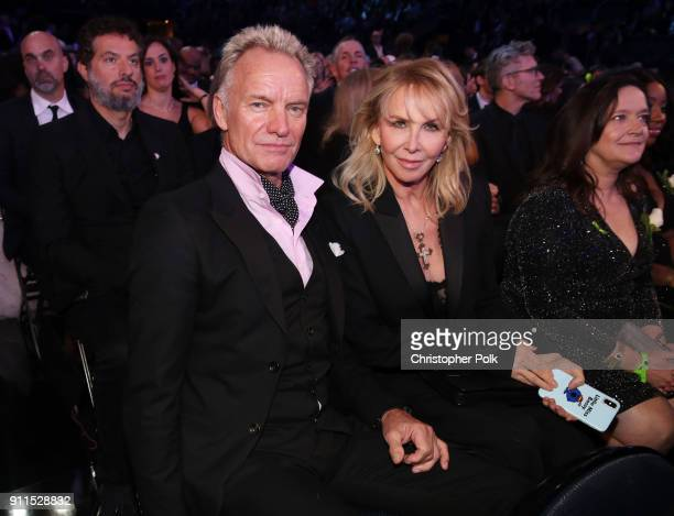 Recording artist Sting and Trudie Styler attend the 60th Annual GRAMMY Awards at Madison Square Garden on January 28 2018 in New York City