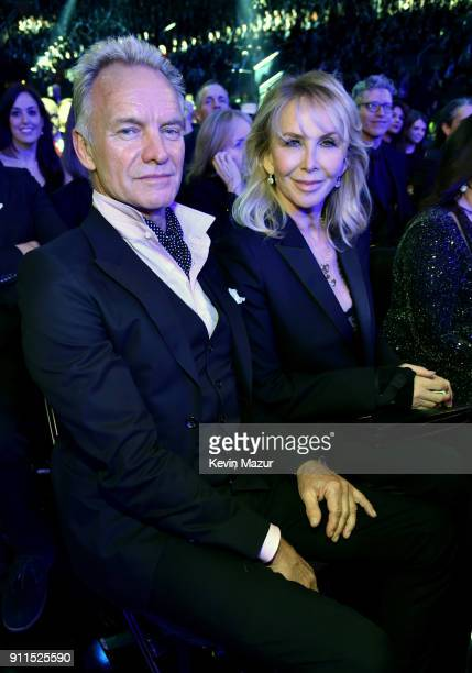Recording artist Sting and wife Trudie Styler attend the 60th Annual GRAMMY Awards at Madison Square Garden on January 28 2018 in New York City