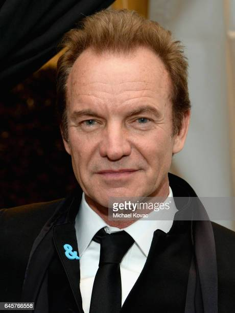 Recording artist Sting attends the 25th Annual Elton John AIDS Foundation's Academy Awards Viewing Party at The City of West Hollywood Park on...