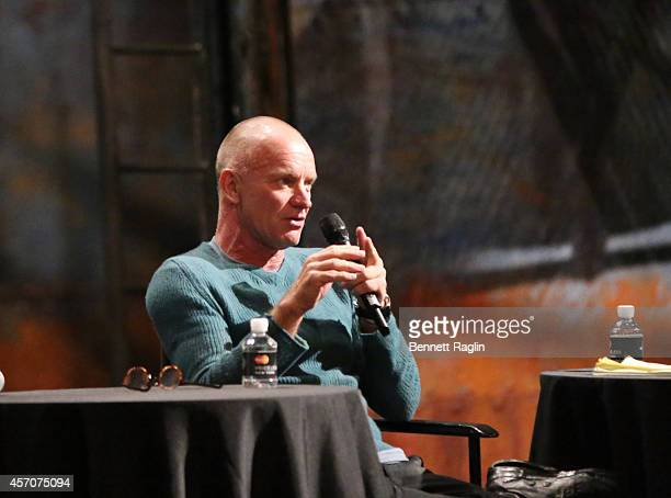 Recording artist Sting attends The New Yorker Festival 2014 'The Last Ship' Panel at the Neil Simon Theater on October 11 2014 in New York City